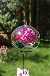 Rosa Hortensien Glas Klangspiel