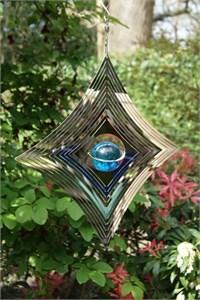 Diamant Windspinner mit Blauer Glaskugel